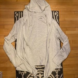 NWOT Heather Gray Hooded Wrap Cardigan